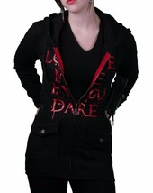 """In Gods Hands """"Love Me if You Dare"""" Maybille Black Fleece Hoodie NWT image 2"""