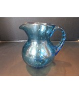 """BLUE GLASS PITCHER CONTROLLED BUBBLE 6"""" TALL STUDIO HANDCRAFTED GLASS - $6.95"""