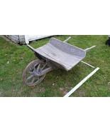 Home Treasure Antique Wooden Wheelbarrow Rustic Primitive Wheel Barrow W... - $166.24