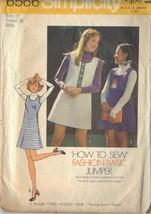 SIMPLICITY 6566 SZ 12  PATTERN GIRL'S BASIC JUMPER PATTERN DATED 1974 - $3.90