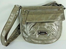 Vintage - Nine West Faux Leather Silver Shoulder Satchel Tote Hand Bag Purse - $18.99