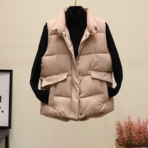 New black warm padded winter vest with pockets stand collar sleeveless waistcoat image 5