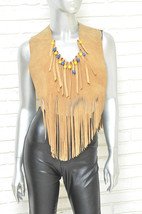 Vintage Tan Suede Fringe Top Style Festival Blouse Women's Shawl Over th... - $130.00