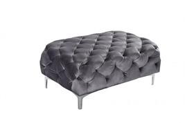 Meridian 646 Mercer Ottoman in Grey Velvet Contemporary Style