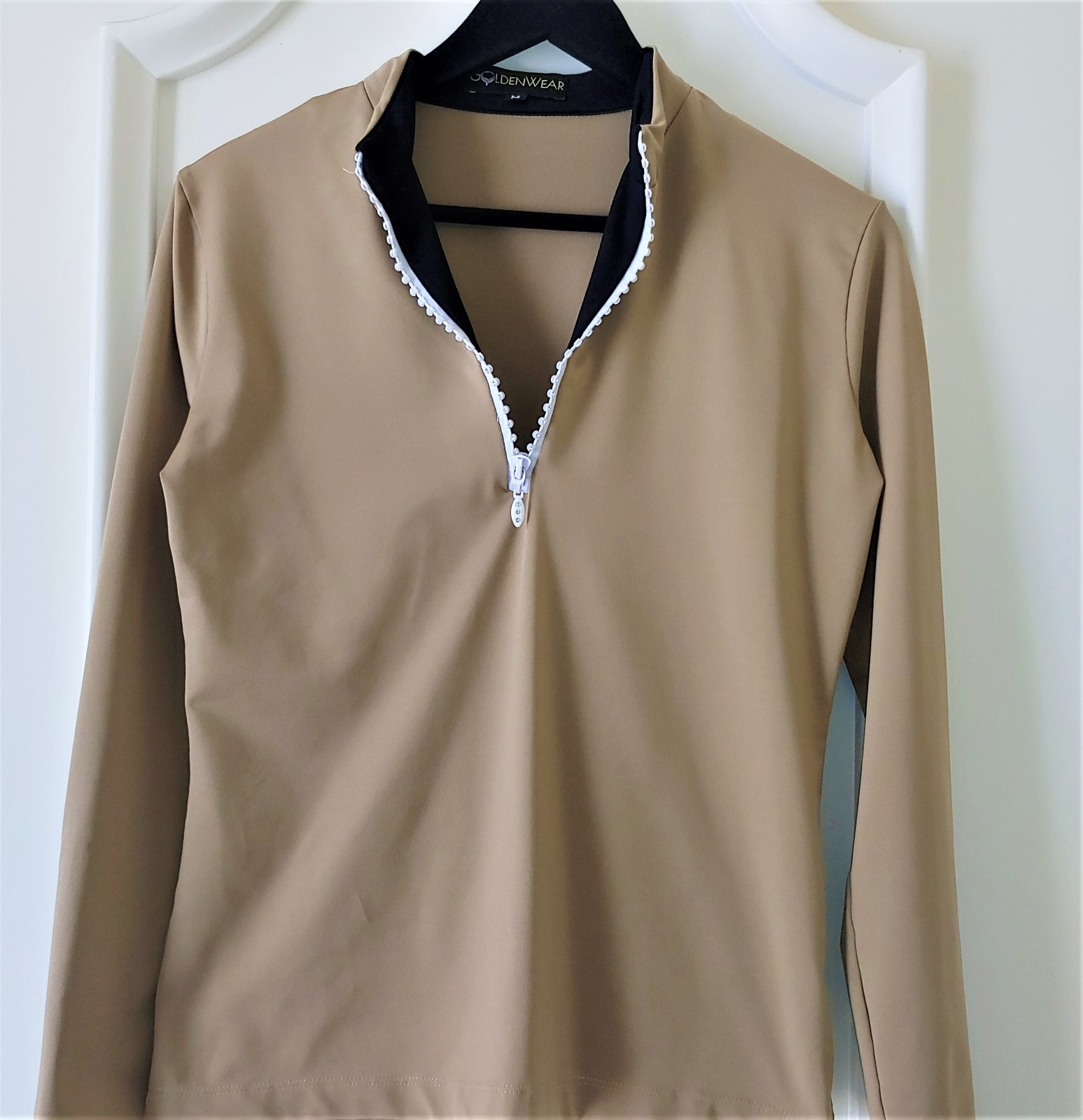 Stylish Women's Golf & Casual Tan Long Sleeve Mock Polo, Rhinestone Zipper