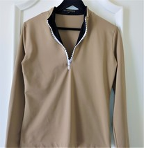 Stylish Women's Golf & Casual Tan Long Sleeve Mock Polo, Rhinestone Zipper  image 1