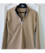 Stylish Women's Golf & Casual Tan Long Sleeve Mock Polo, Rhinestone Zipper  - $29.95