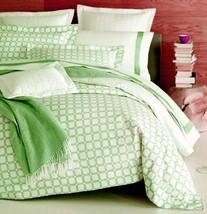 Sferra Barrington King Duvet Cover Chartreuse Green Lattice Cotton Percale New - $289.90