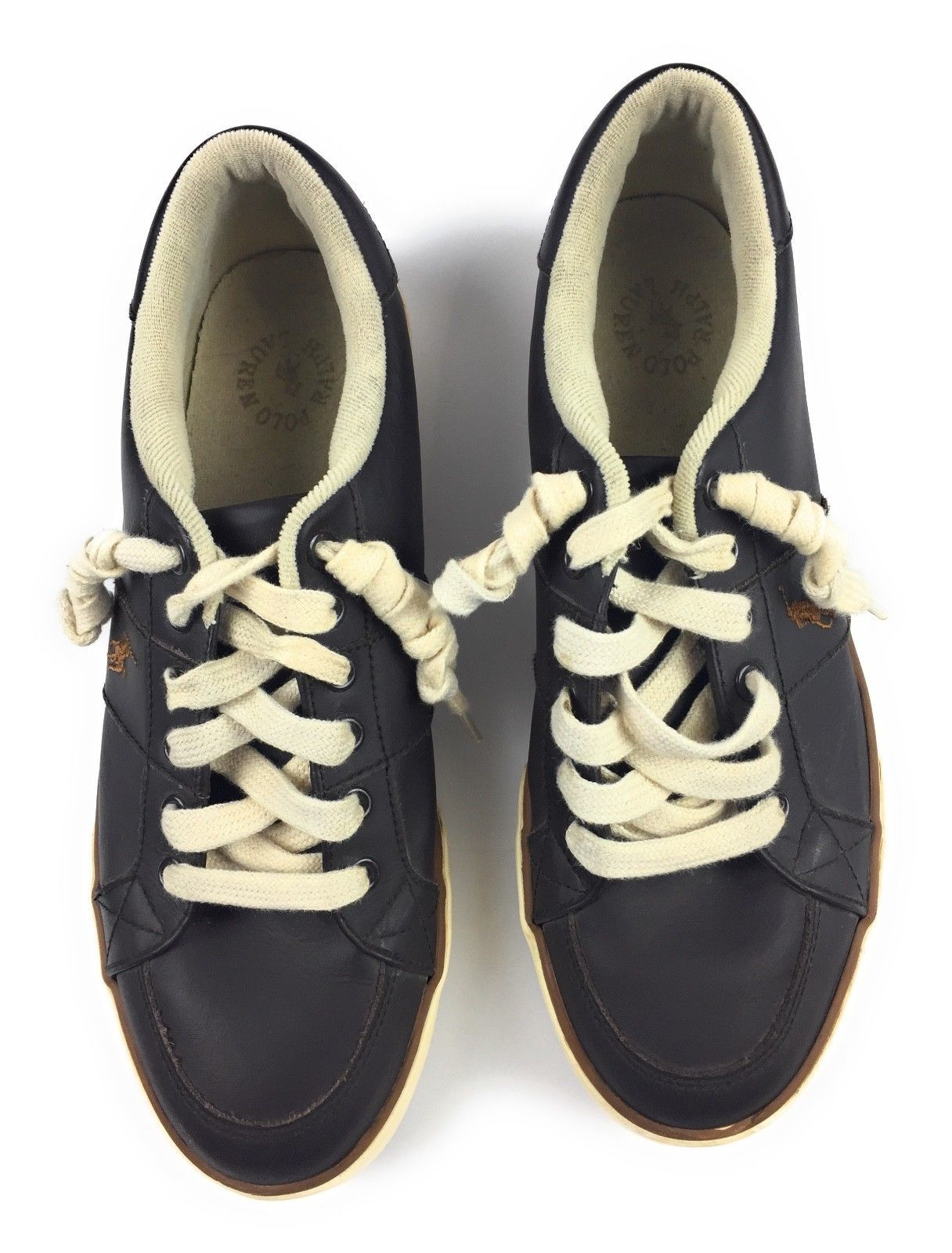 Polo Ralph Lauren Hanford Dark Brown Leather Deck Boat Sneakers Shoes Men's 9.5D