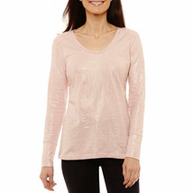 NWT $27  a.n.a rose metallic   LONG  sleeve tee  TOP SIZE petite  XLARGE - $17.81