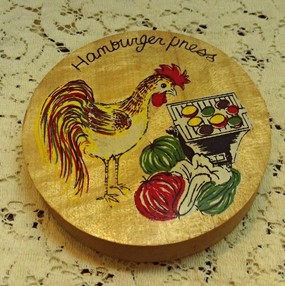 Vintage Wood Hamburger Press Rooster/Chicken BBQ Veggies Design