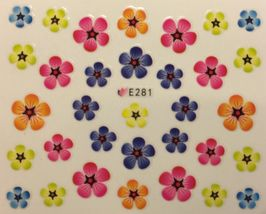 BANG STORE Nail Art 3D Decal Stickers Multicolred Flowers Colorful Flower KAWAII - $3.67