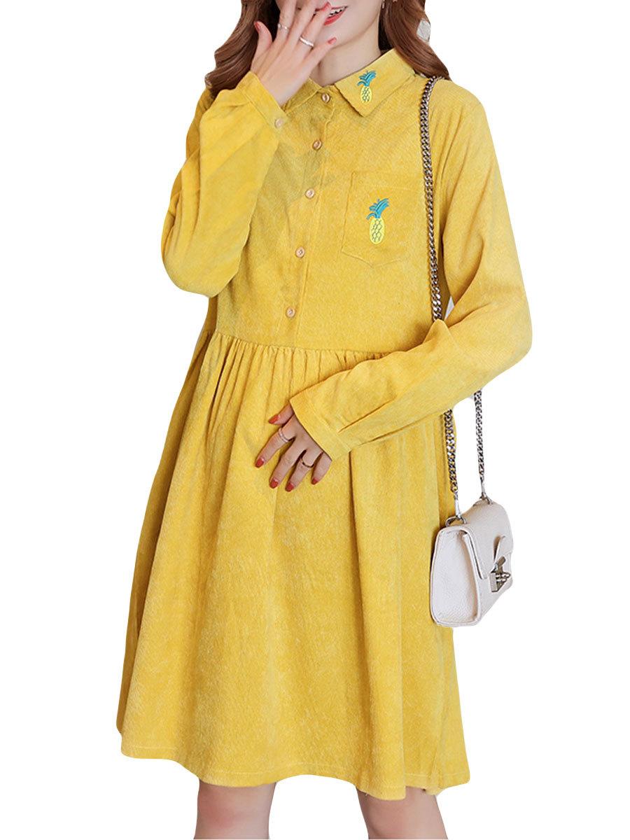 Maternity Dress Solid Color Long Sleeve Turn Down Collar Fashion Shirt Dress
