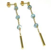 18K YELLOW GOLD PENDANT EARRINGS, FACETED AQUAMARINE, TUBES, LENGTH 2.6 INCHES image 1
