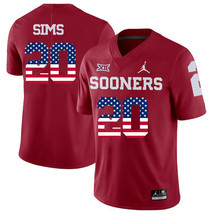 Men's Oklahoma Sooners Billy Sims 20 NCAA USA Flag Jersey, Red - $52.24