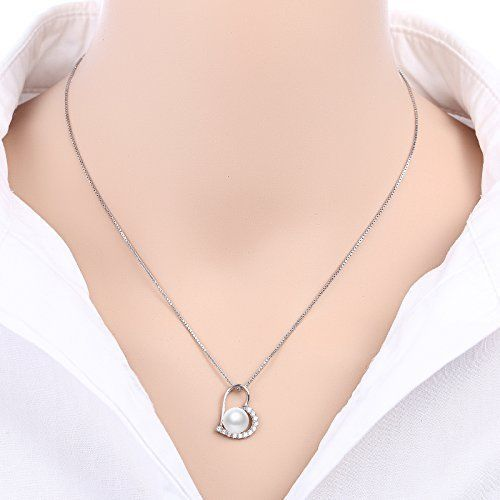 Nonnyl 925 Sterling Silver White Pearl Pendants Necklace With Sterling Silver...