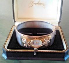 Vintage Gorham Unicorn Two Tone Hinged Bangle Bracelet Wrist Watch in Box RARE F image 2