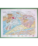 GEOLOGY Geological Map Europe - COLOR Original Print Engraving - $10.71