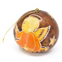 Handcrafted Carved Gourd Christmas Religious Angel Holiday Ornament Made Peru image 3