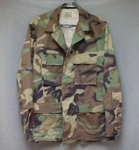 Authentic SEABEES BDU Shirt Ripstock Summer Woodland Green Camo Size Med... - $10.12