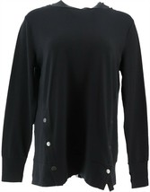 AnyBody French Terry Sweatshirt Side Snaps Black 3X NEW A367681 - $25.72