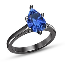 Sterling Silver Black Gold Over Pear Cut Sapphire Womens Engagement Wedd... - $74.99