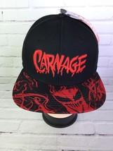 CARNAGE Marvel Spell Out Graphic Snapback Hat Black Red Adjustable OSFM ... - $42.56