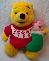 "Mattel HOLIDAY WINNIE THE POOH BEAR & PIGLET 15"" Plush Stuffed Animal To... - $19.80"