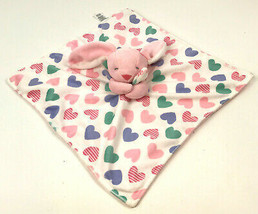 CARTER'S Pink BUNNY Baby LOVEY Security Blanket PURPLE Green VELOUR Hear... - $18.81