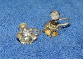 Vintage Coro Earrings large 10-12mm single Rhinestone silver tone screw ... - $22.49