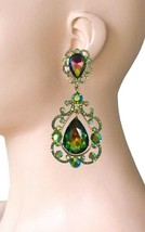 "3.5"" Long Vintage Inspired Vitrail Green Clip On Earring Pageant Drag Queen - $23.70"