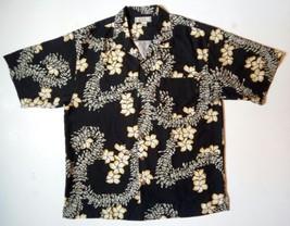 TOMMY BAHAMA L 100% Silk Black and Yellow Flowery Short Sleeve Hawaiian ... - $24.14