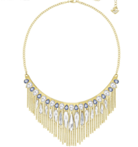 Swarovski Crystal GIPSY Gold Fringe Multi Boho Necklace Authentic Stampe... - $123.74