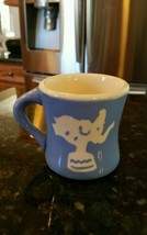 VINTAGE 1940s Baby Child MUG Cup CERAMIC BLUE w/ WHITE Toy Soldier ELEPH... - $22.91