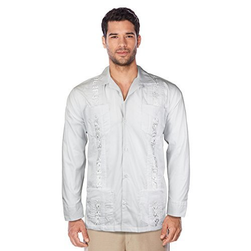 Guayabera Men's Cuban Beach Wedding Long Sleeve Button-Up Casual Dress Shirt (Wh