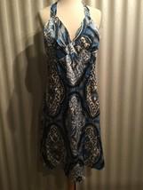 Oleg Cassini 100% Silk Halter Blue, White Paisley Women's  Dress Size 8 $128 - $75.00