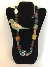 VINTAGE PARROT And Beads Necklace - $41.58