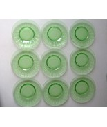 """Vintage Lot Of 9 Federal Glass Optic Green Hostess Line 7 3/4"""" Plates - $105.44"""