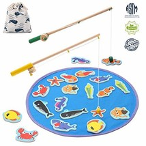 TEPSMIGO Magnetic Wooden Fishing Pole Game for Kids, Educational Go Fish... - $31.90
