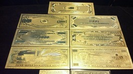 14 Pc. LOT- 7 GOLD AND 7 SILVER~$1 BILLION-$500 BANKNOTE REP.*FREE SHIP - $37.06