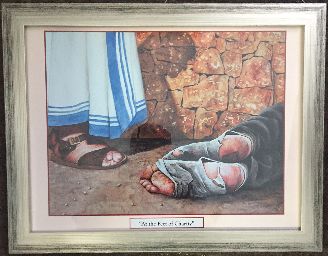 At the feet of charity   print framed by tommy canning