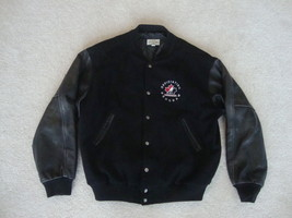 Canada Hockey Officiating Program varsity black wool leather Jacket XL - $69.29