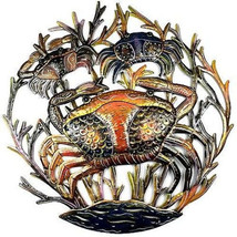 "Hand Cut Painted Crab Ocean Metal Wall Art 24"" ... - $89.99"