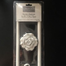CROSCILL* (1) Set CURTAIN RODS Shabby Chic WHITE W/FLOWERS Vintage *YOU ... - $34.64+