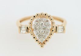 Diamond Pear Shape Engagement Ring 0.40 Ct Natural Diamond 10K Solid Yel... - $336.99