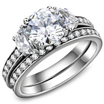 HCJ 2 CARAT SILVER TONE 3 STONE CZ ENGAGEMENT & WEDDING RING SET SIZE 8, 9 - $25.19
