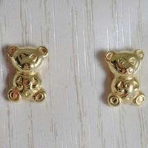18K YELLOW GOLD EARRINGS MINI BEAR, BEARS POLISHED FOR KIDS CHILD MADE IN ITALY image 1