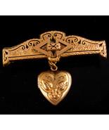 Antique Locket Enamel rose gold locket brooch - sweetheart keepsake - $185.00