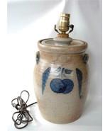 "Rowe Pottery Handled Crock 12"" Table Lamp Cherry Blue Salt Glazed Stonew... - $88.11"