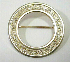 Retro Vintage Gold Tone Textured Swirl Pattern Open Circle Brooch Pin - $6.99